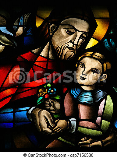 Stained glass window depicting Jesus and a child, in the Koekelberg basilica in Brussels - csp7156530