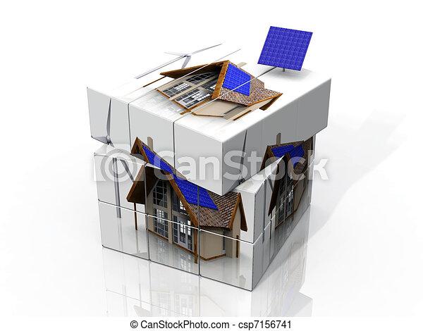 stock illustration rubik 39 s cube of a house with solar panels stock illustration. Black Bedroom Furniture Sets. Home Design Ideas