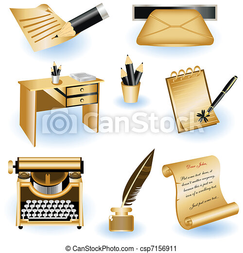 Brown writing icons - csp7156911