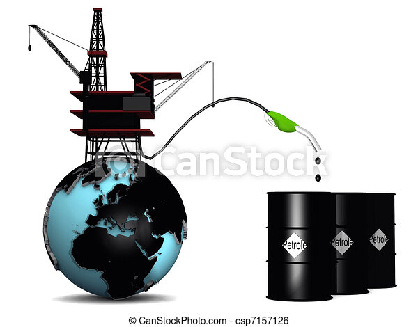 Globe with oil rig and petroleum drums - csp7157126