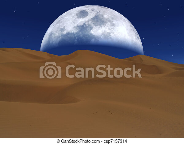 White moon rising over a desert landscape - csp7157314