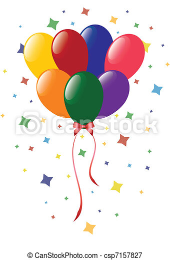 Color balloons with confetti - csp7157827