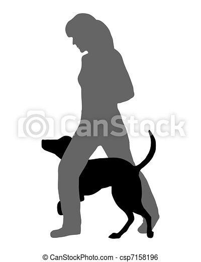 Dog agility (obedience): Command: Run through - csp7158196