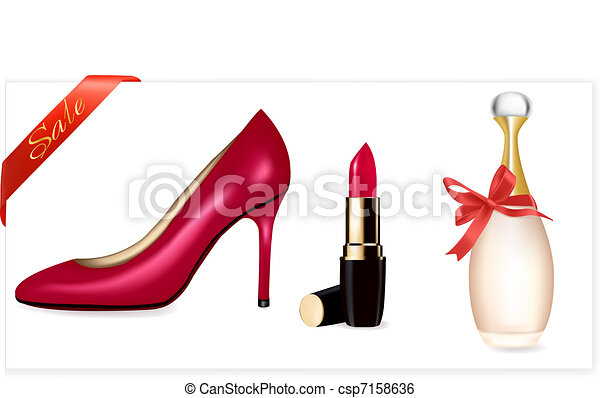 Sexy high heel shoes shoes and lips - csp7158636