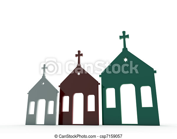 church in various color - csp7159057