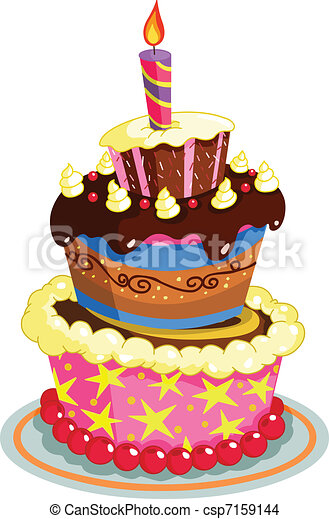 EPS Vector Of Birthday Cake Csp Search Clip Art - Graphic birthday cake