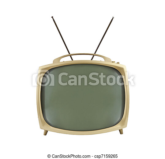 1950's Portable Television with Antennas Up - csp7159265
