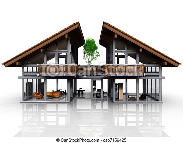 Stock illustrations of house with no walls csp7159425 for Maison de reve plan
