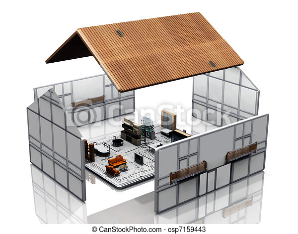 Haus bauen clipart  Zeichnungen von blaupause, haus, bauen - House, bauen, auf, a ...