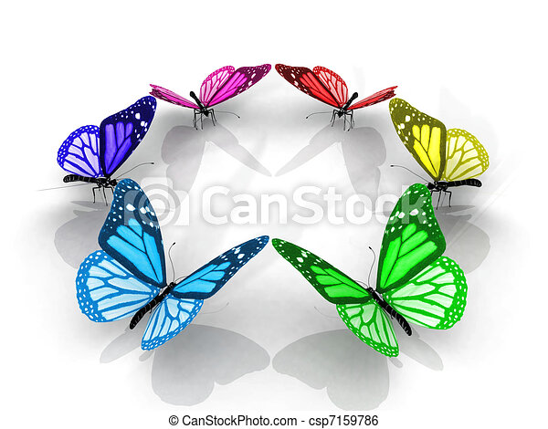 Stock Illustration Of Colorful Butterflies In A Circle Csp7159786
