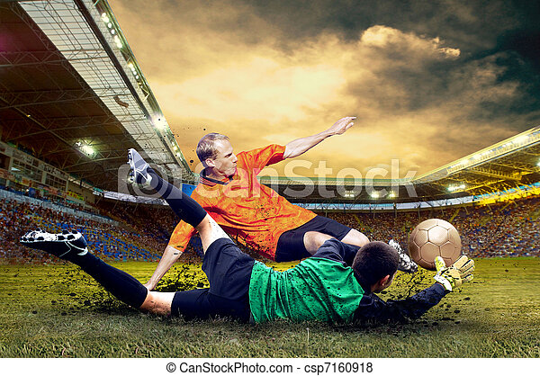Football player on field of stadium - csp7160918