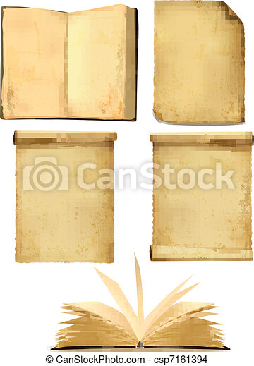 Set of old paper sheets. Vector - csp7161394