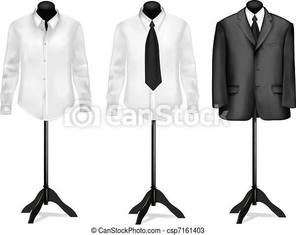 Black suit and white shirts - csp7161403