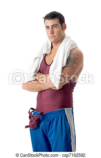 Young adult male wrestler. Studio shot over white. - csp7162592