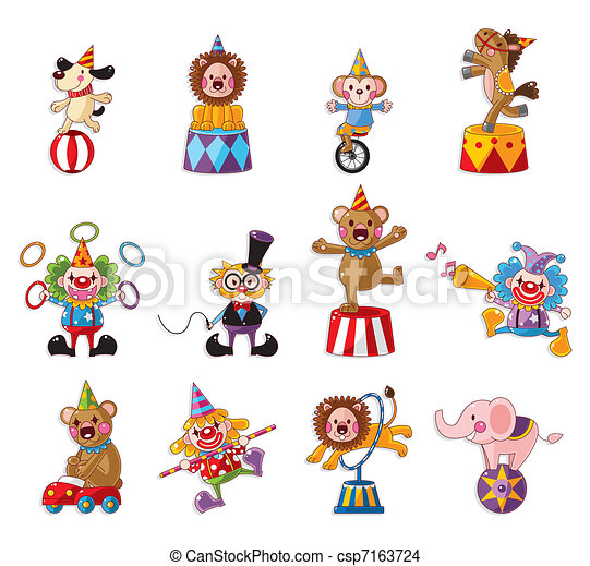 cartoon happy circus show icons collection  - csp7163724