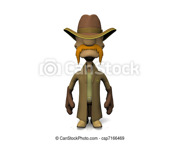 Computer generated full body image of wild-west sheriff - csp7166469