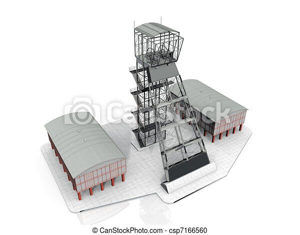 Computer generated tower and two low buildings - csp7166560