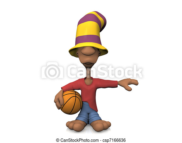 Cartoon youth with hat and basketball - csp7166636