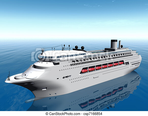 Drawing of white cruise ship csp7166854 - Search Clip Art ...