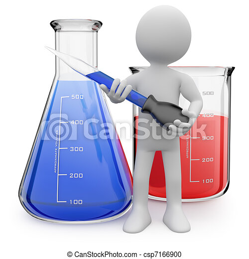 Chemist posing with test tubes - csp7166900