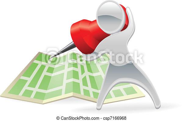 Metallic cartoon mascot map pin concept - csp7166968