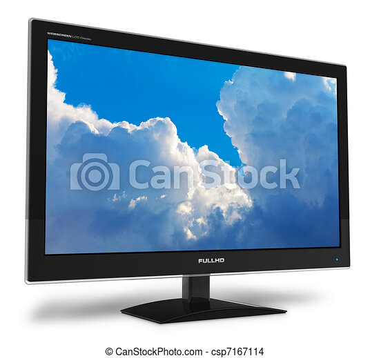Widescreen TFT display with blue sky - csp7167114