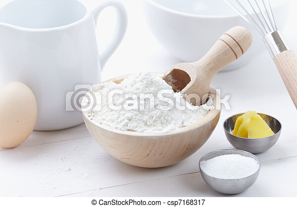 ingredients and tools to make a cake, flour, butter, sugar, eggs - csp7168317