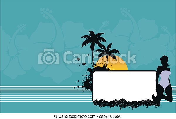 tropical hawaii girl background4 - csp7168690