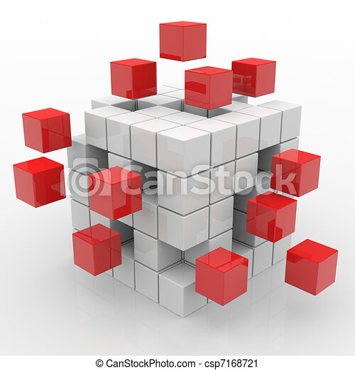 Cube assembling from blocks - csp7168721