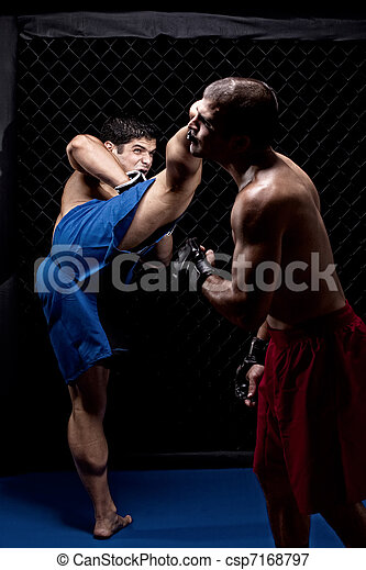 Mixed martial artists fighting - csp7168797