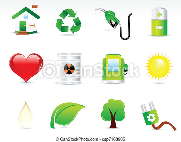bstract green eco icon set - csp7168905