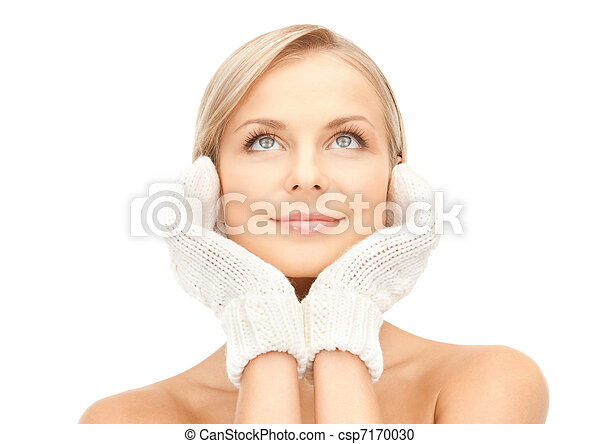 beautiful woman in mittens - csp7170030