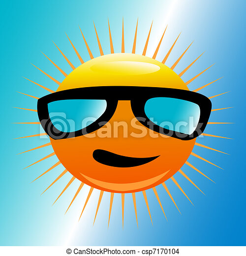 Sun with beach sunglasses - csp7170104