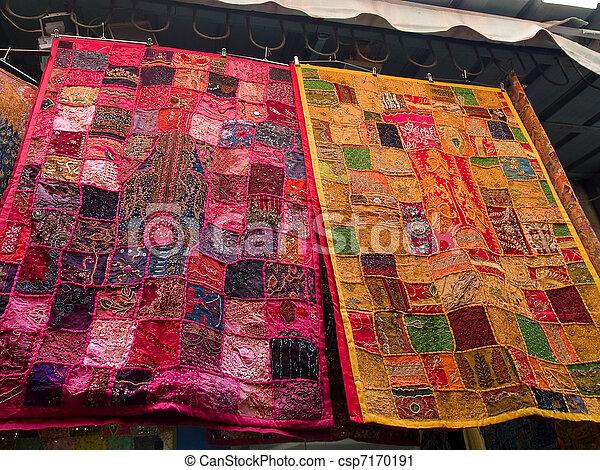 stock fotografie von orientalische handgearbeitet stoffe markt csp7170191 suchen sie. Black Bedroom Furniture Sets. Home Design Ideas