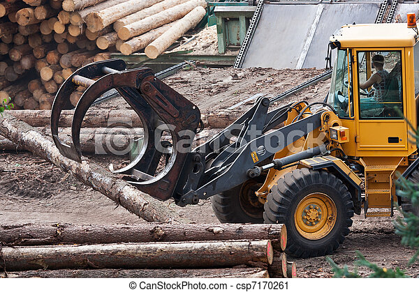 Skidder hauling logs at sawmill. - csp7170261