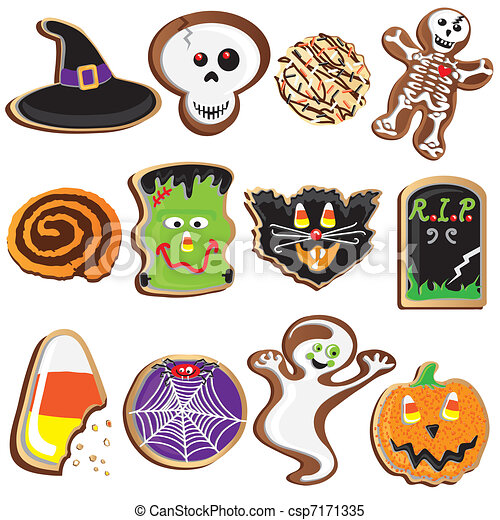 Cute Halloween Cookies Clipart  - csp7171335