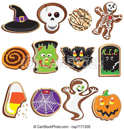 Cute Halloween Cookies Clipart  - csp7171335