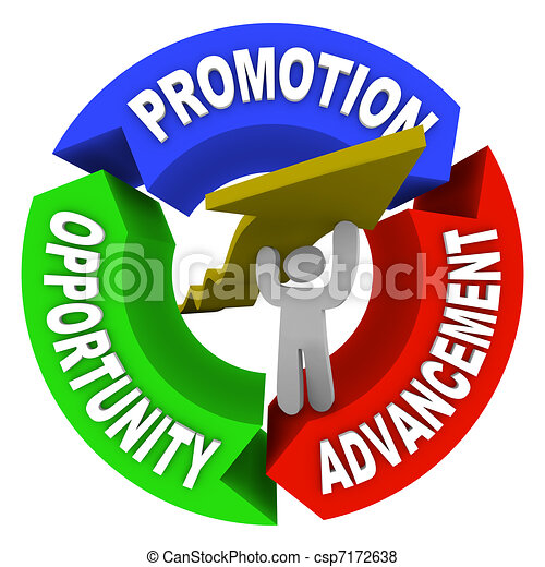 Promotion Advancement Opprotunity Man Lifting Career Arrow - csp7172638