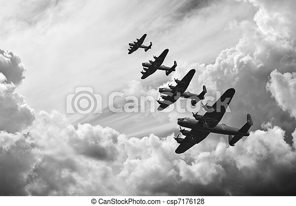 Black and white retro image of Batttle of Britain WW2 airplanes - csp7176128