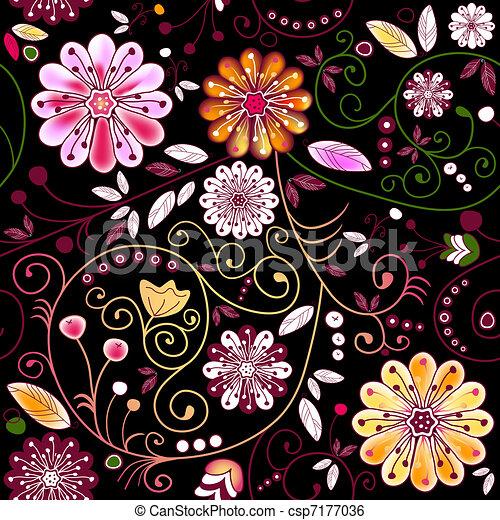 Seamless dark floral pattern - csp7177036
