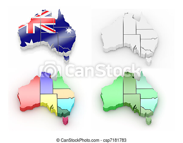 Three-dimensional map of Australia - csp7181783