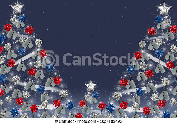 military dog tags on Christmas tree - csp7183493