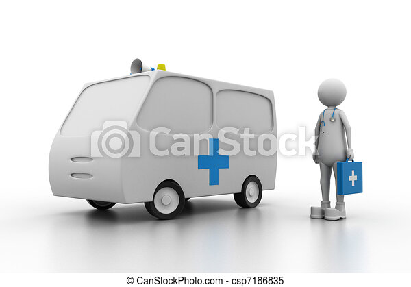 Doctor with ambulance. (Health care - csp7186835