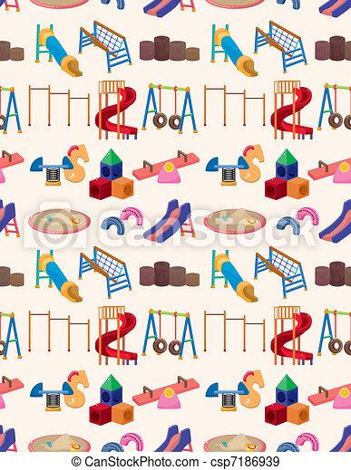 seamless park playground pattern  - csp7186939
