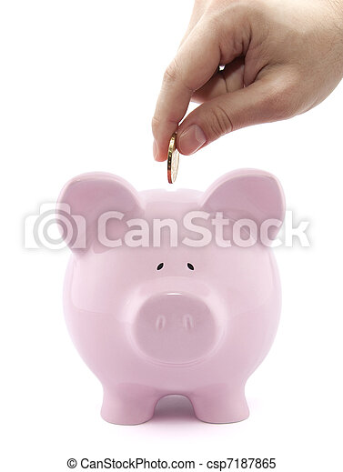Putting coin into the piggy bank - csp7187865