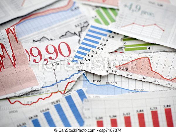 Financial charts from newspapers - csp7187874