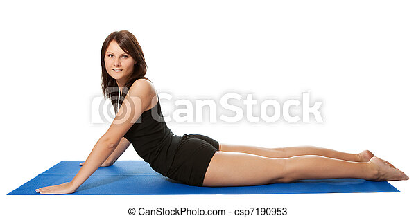 Young women doing core stretch on fitness mat - csp7190953