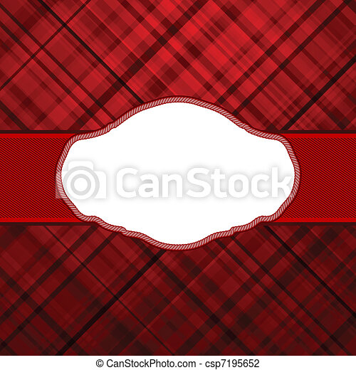 Wallace tartan red vintage card background. EPS 8 - csp7195652