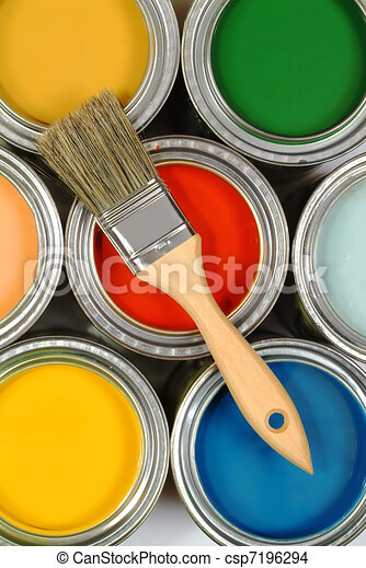 Brush on paint cans - csp7196294