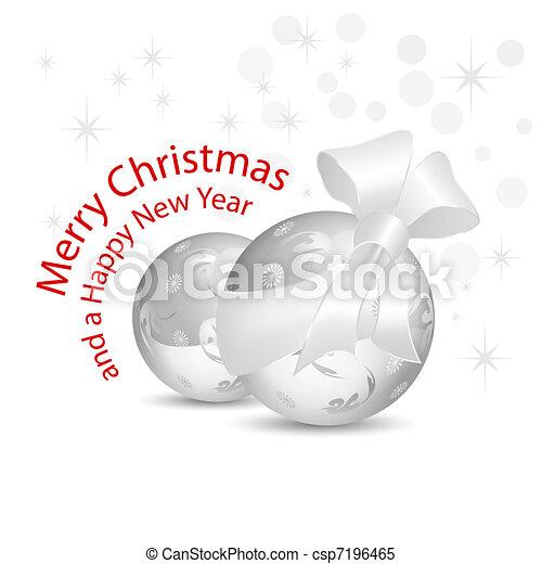 Silver gray Christmas baubles - csp7196465
